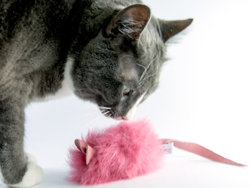 Real Rabbit Fur Cat Toy, Pink Fur Cat Toy Mouse