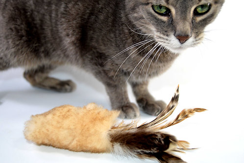 Flutter Stick, Feather Cat Toy, Teaser Toy, Sheepskin and Feather Cat Fetch Toy