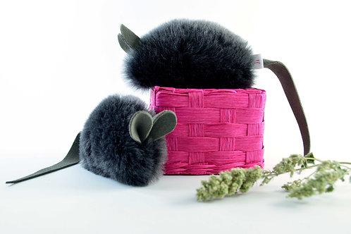 Real Sheepskin Cat Toy Mouse Handmade with Grey Sheepskin