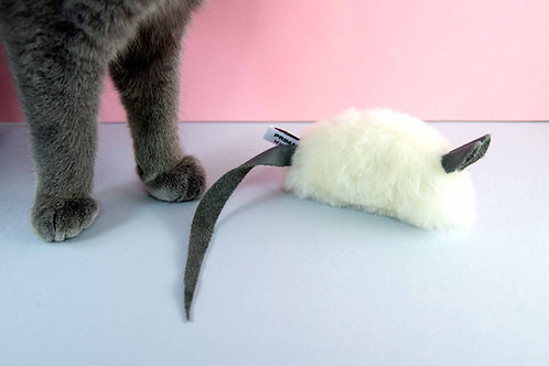 real fur cat toy mouse