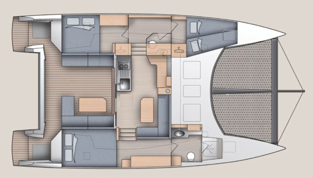 Aménagement 6 couchages - Catamaran C-Cat 37 Sea Spell en location à Hyères