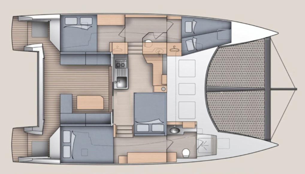 Aménagement 8 couchages - Catamaran C-Cat 37 Sea Spell en location à Hyères