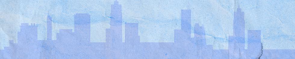 Banner de site com um fundo azul com desenhos de prédios em tons azuis