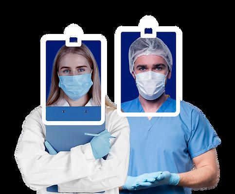 Um homem e uma mulher vestidos com roupas de enfermeiros e máscara com crachá desenhado no rosto