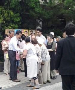アテンドして頂いている佐々木県会議員の地元岩泉で演説