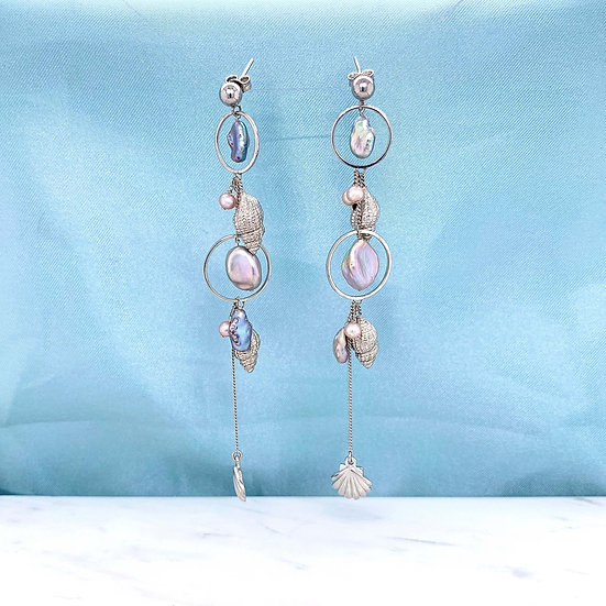 Atlantis Seashell Pearl Earrings