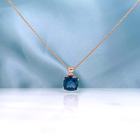 Rose Gold London Blue Topaz Pendant
