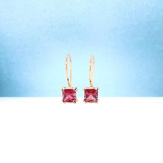 Pink Tourmaline Hook Earrings