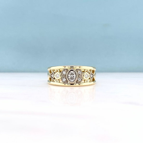 Oval Diamond Art Deco Ring