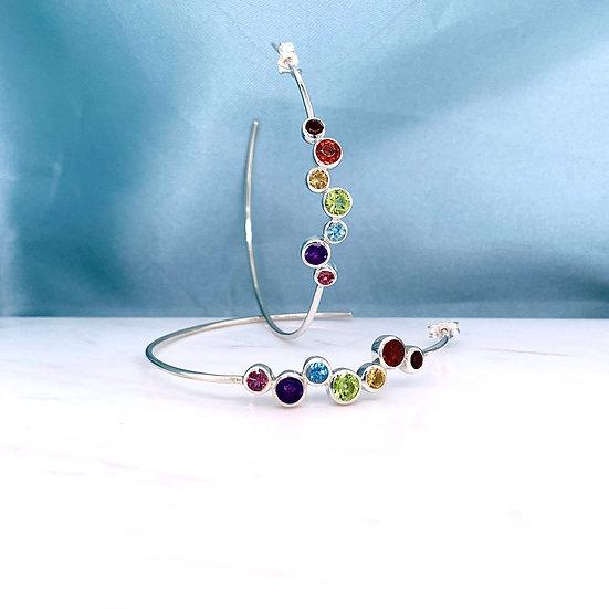 Rainbow Gemstone Silver Hoops