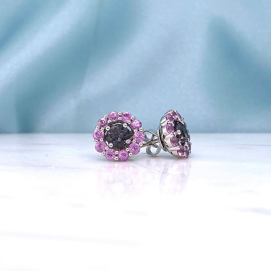Grey Spinel & Pink Sapphire Stud Earrings