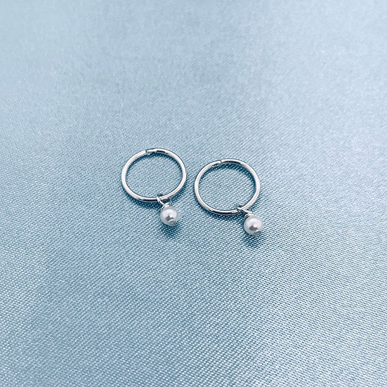 Silver & Pearl/Turquoise Hoops