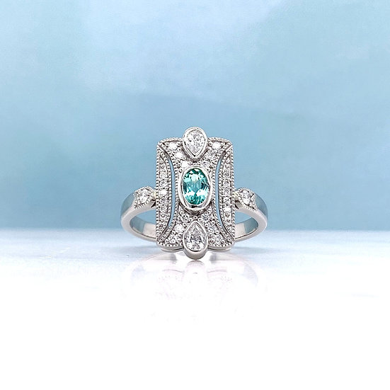 Paraiba Tourmaline & Diamond Deco Ring