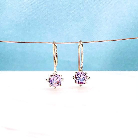 Pink Amethyst & Diamond Hook Earrings