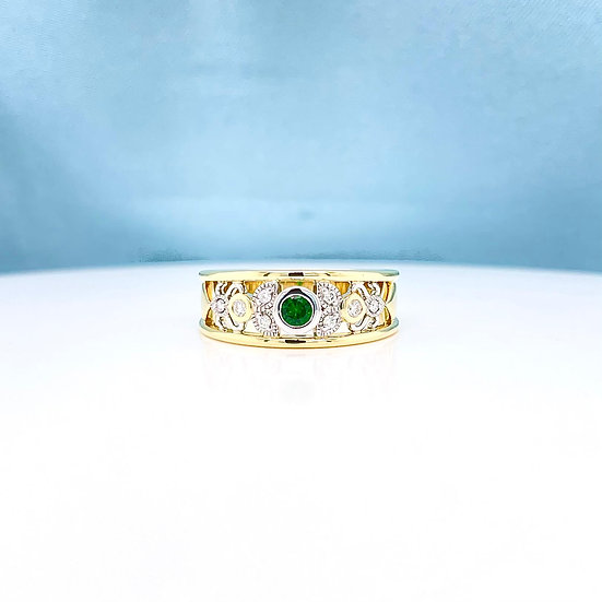 Tsavorite Garnet & Diamond Art Deco Ring