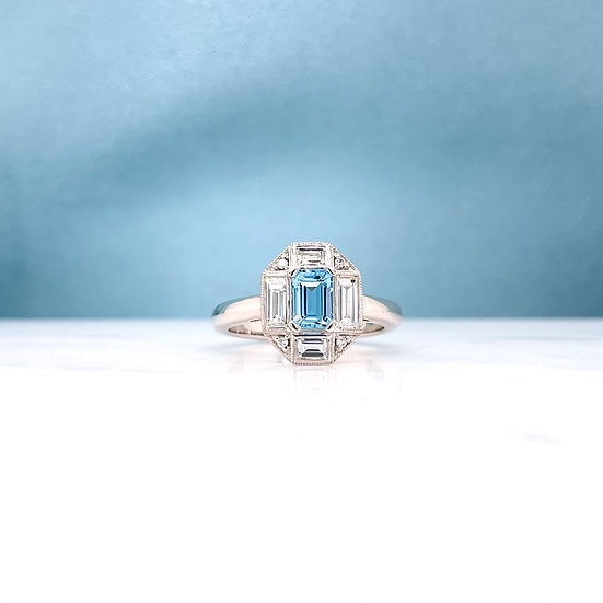 Aquamarine & Diamond Deco Ring
