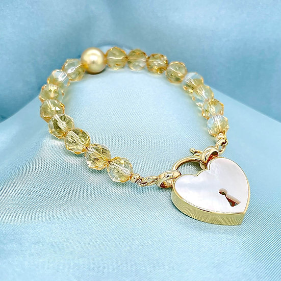 Citrine & South Sea Pearl Bracelet on Gold & Mother Of Pearl Padlock