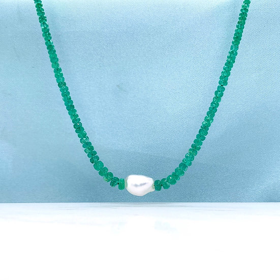 Emerald & Keshi Pearl Necklace