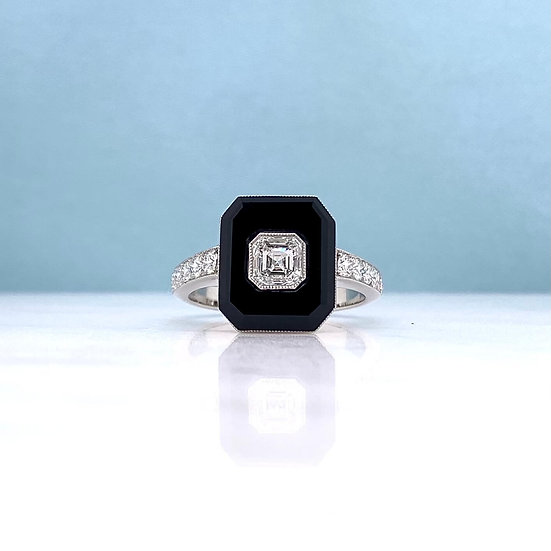 Platinum Onyx & Diamond Ring