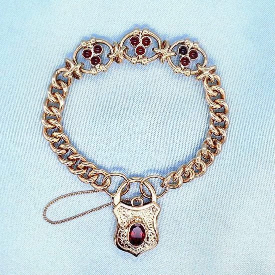 Solid Gold & Garnet Padlock Bracelet