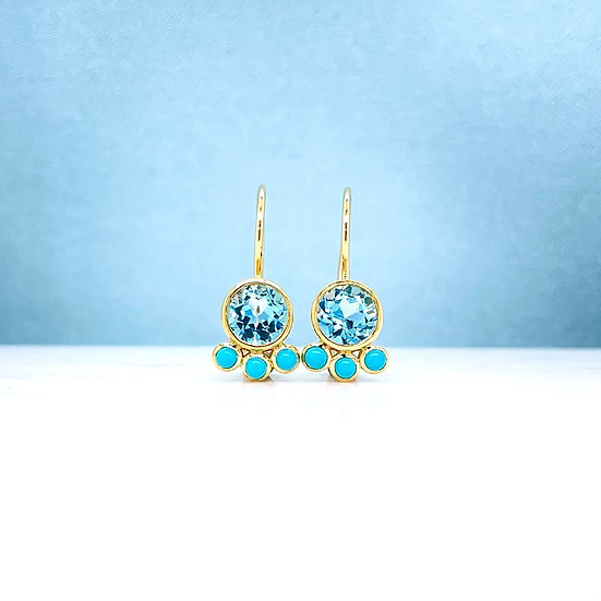 Blue Topaz & Turquoise Hook Earrings