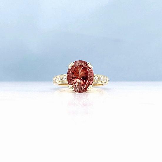 Sunstone & Diamond Cocktail Ring