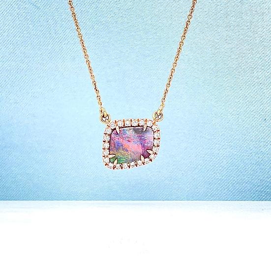 Australian Boulder Opal & Diamond Rose Gold Necklace