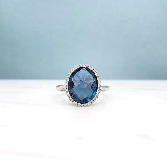 Oval London Blue Topaz & Diamond Ring