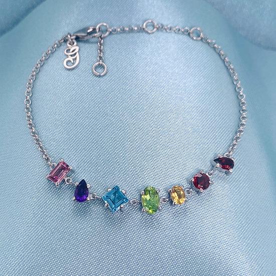 Rainbow Gemstone Silver Bracelet