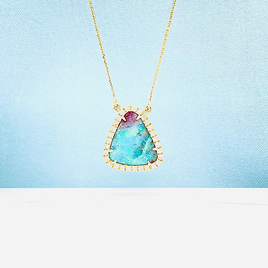 Australian Boulder Opal & Diamond Necklace