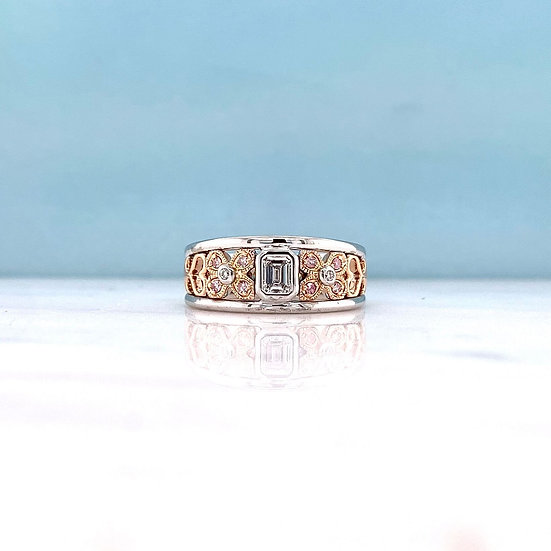 Emerald Cut & Natural Pink Diamond Art Deco Ring