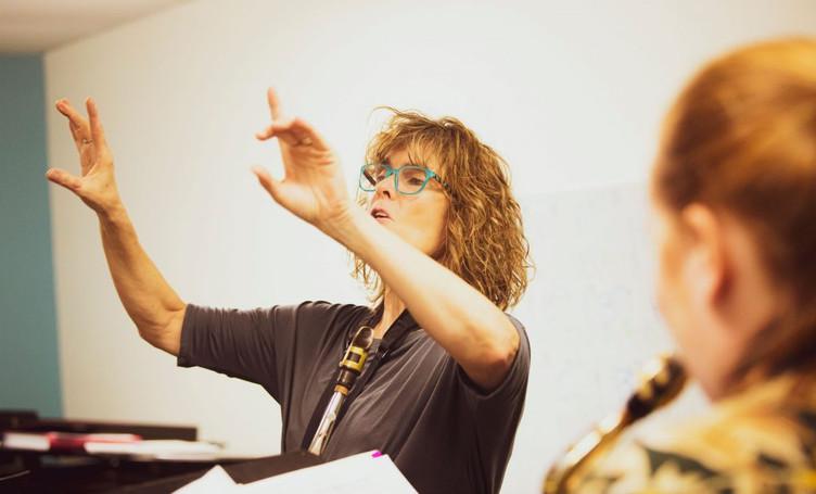 Directing ensemble with Phoenix Jazz Girls Rising.