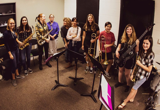 A group shot with Phoenix Jazz Girls Rising in 2019.
