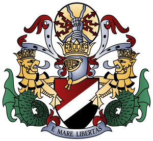 Sealand's coat of arms, motto is translated as 'From the sea, liberty'