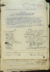 Petition for end of force feeding of detained suffragettes and grant of political prisoner status, 1912