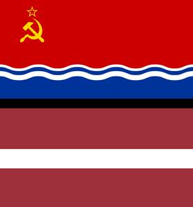 Latvian Soviet Socialist Republic flag (top) & Latvia's current flag (below)