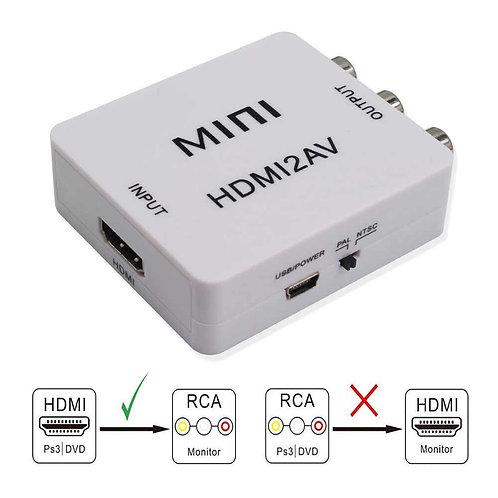 Конвертер HDMI - 3RCA белый адаптер, конвертор, преобразователь питание от USB