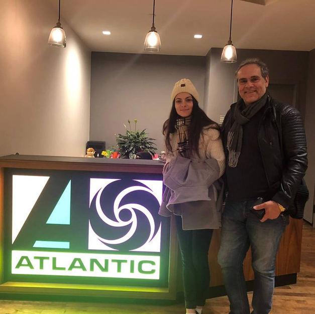 Ms Eva Kourtes & manager Sebastian Riggio at Atlantic Records.