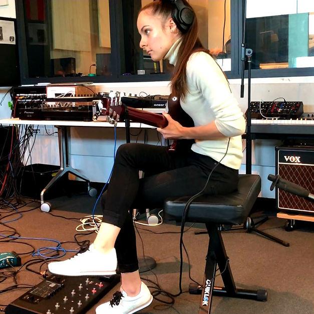 Eva Kourtes recording in the studio