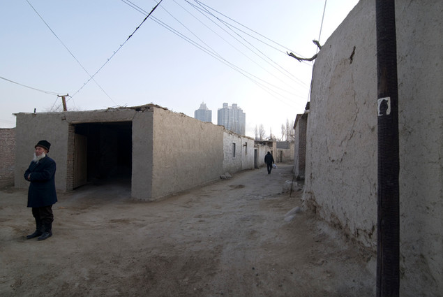 Inner-city Uyghur residential district, due for demolition, Korla
