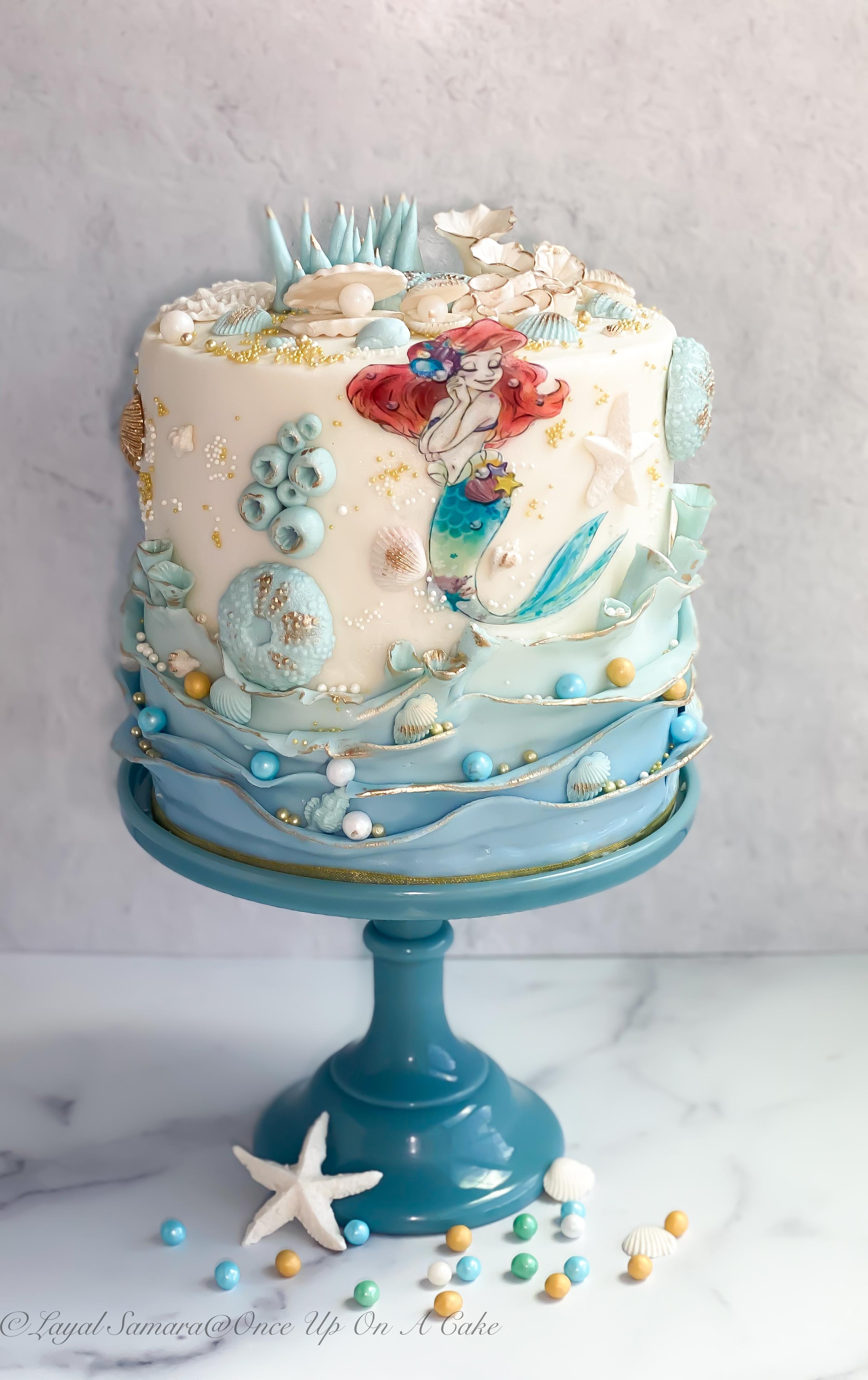 liitle mermaid cake -blue.