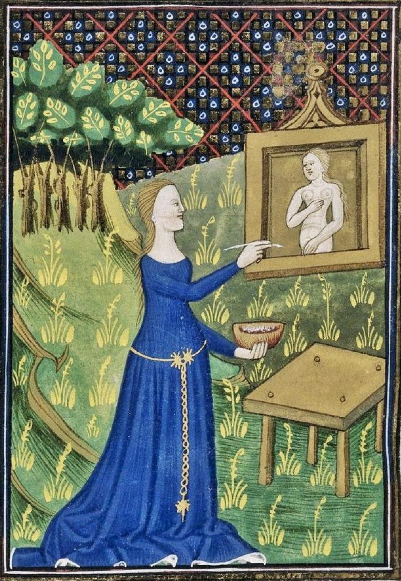 Détail d'une miniature de Timarété peignant son image de la déesse Diane. L'origine de la peinture, de Jean-Baptiste, Regnault, 1786.