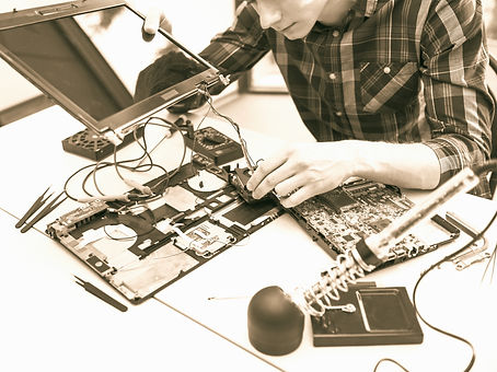 Person fixing computer