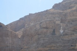 Monastery built into side of cliff in Jericho