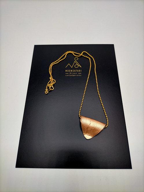 Collier pendentif Cuivre & chaîne plaqué Or - Nid d'abeille