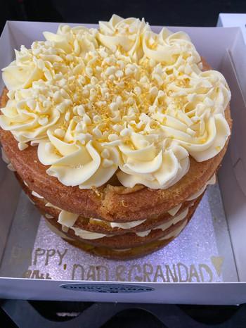 8inch tripple layer lemon drizzle cake.
