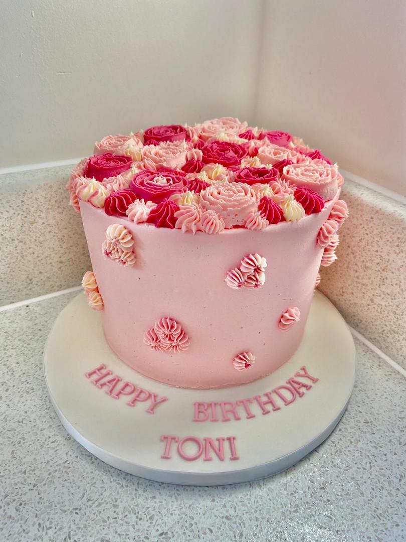 Rasberry & White Chocolate Floral Cake