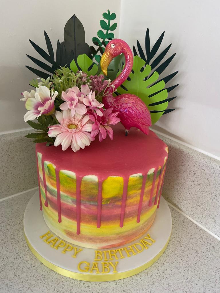 Summer Flamingo Drippy Cake