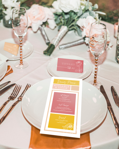Michaela & Louis 2020 - Dinner Menu & Place Card