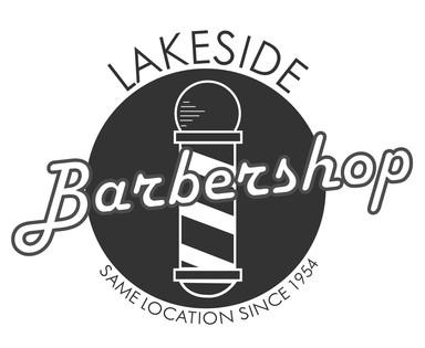 Lakeside Barbershop   Logo (Grayscale)